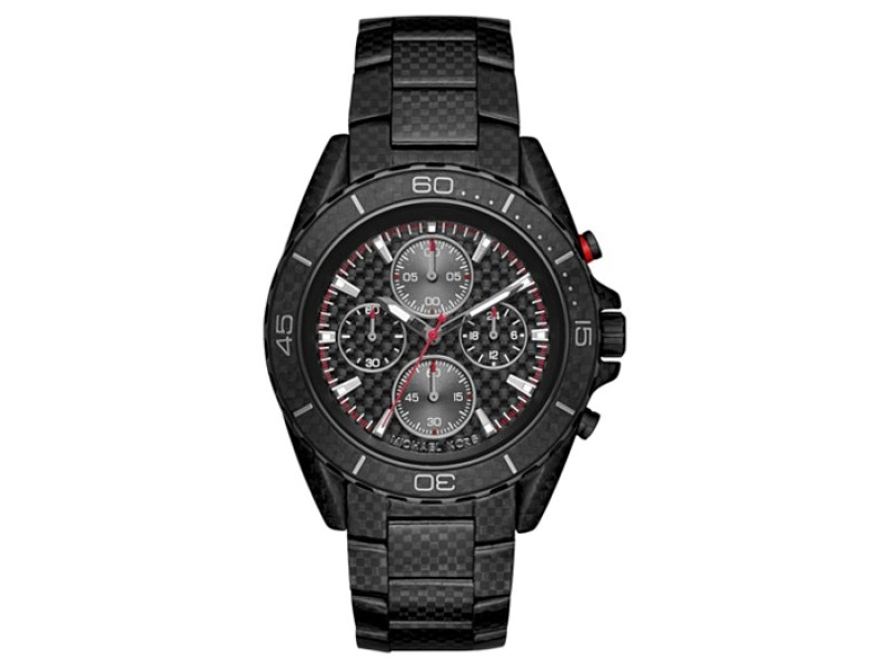 Michael Kors Chronograph JetMaster Carbon Fiber Stainless Steel Bracelet Mens Watch