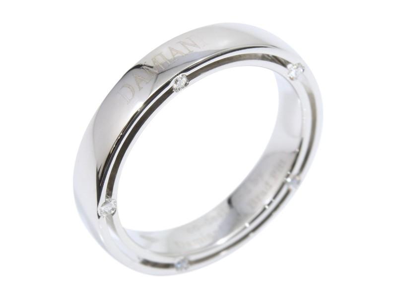 Damiani Brad Pitt 18k White Gold And Diamond Band Ring Size 6 75