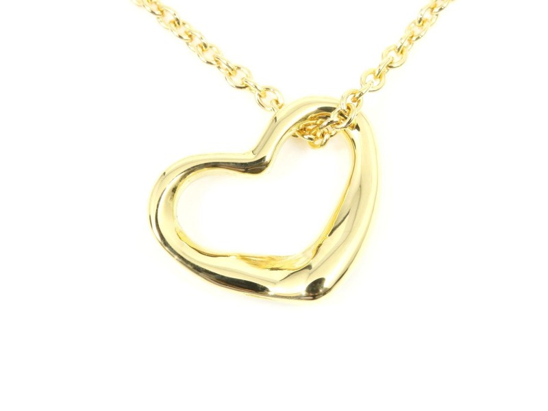 Tiffany & Co. 18K Yellow Gold Open Heart Pendant Necklace