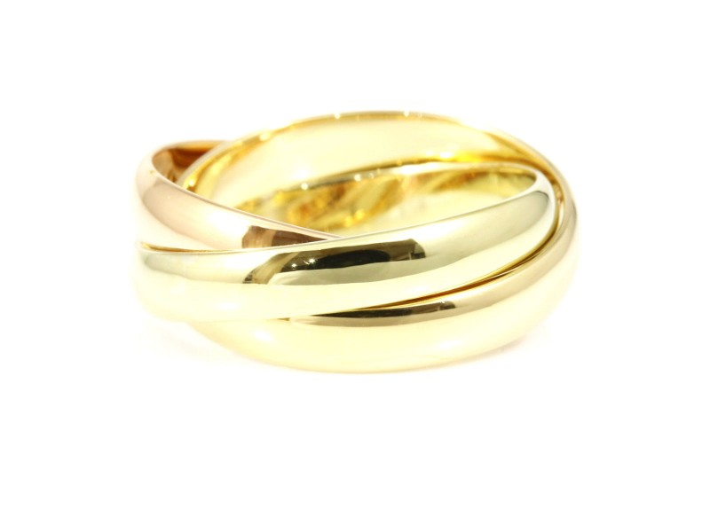 Cartier 18K White Yellow & Rose Gold Ring Size 5