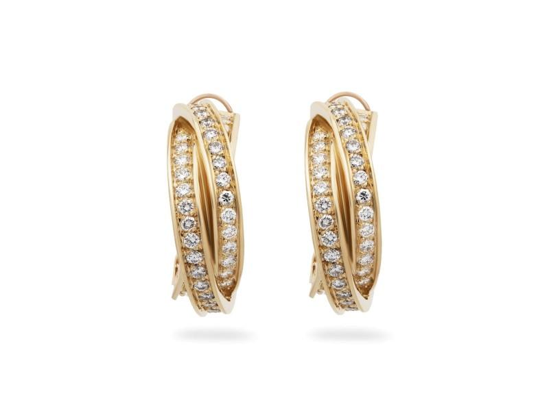 Cartier 18K Yellow Gold Diamond Earrings