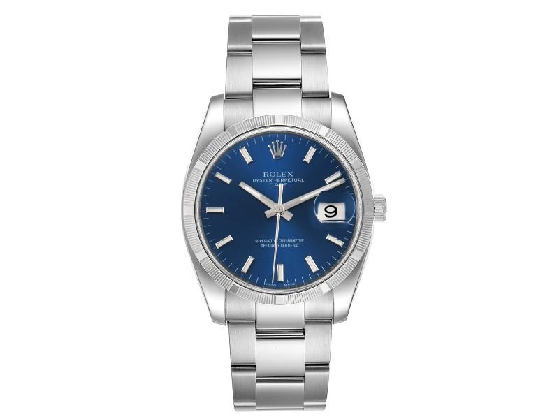 Rolex Date Steel Blue Dial Oyster Bracelet Automatic Mens Watch 115210