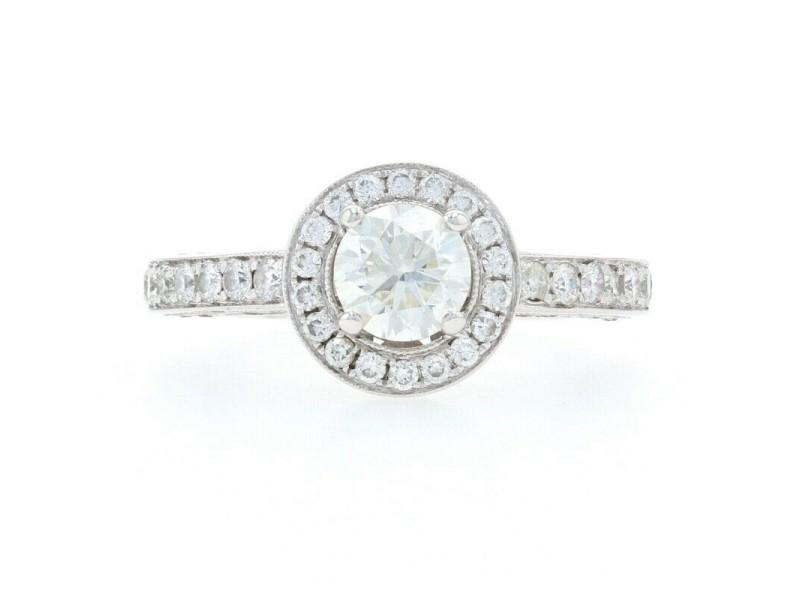 White Gold Diamond Halo Engagement Ring - 18k Round Brilliant 1.59ctw Milgrain