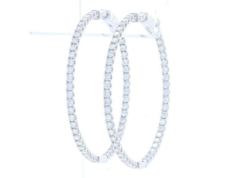 White Gold Diamond Inside-Out Hoop Earrings 14k Round Brilliant 2.50ctw Pierced