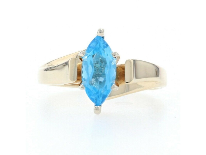 Yellow Gold Blue Topaz Solitaire Bypass Ring - 10k Marquise 1.20ctw Cathedral
