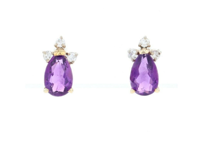 Yellow Gold Amethyst & Diamond Stud Earrings -14k Pear Brilliant 1.55ctw Pierced
