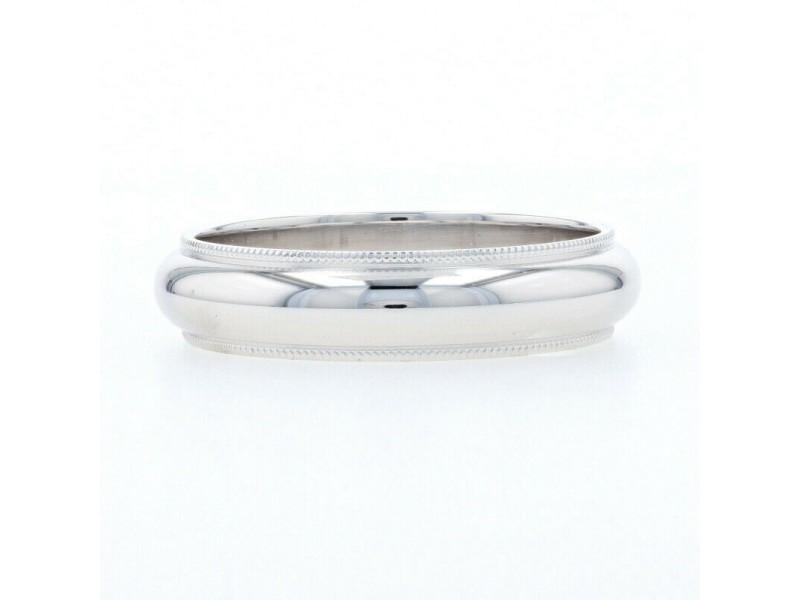 White Gold Men's Wedding Band - 10k Milgrain Ring Size 9