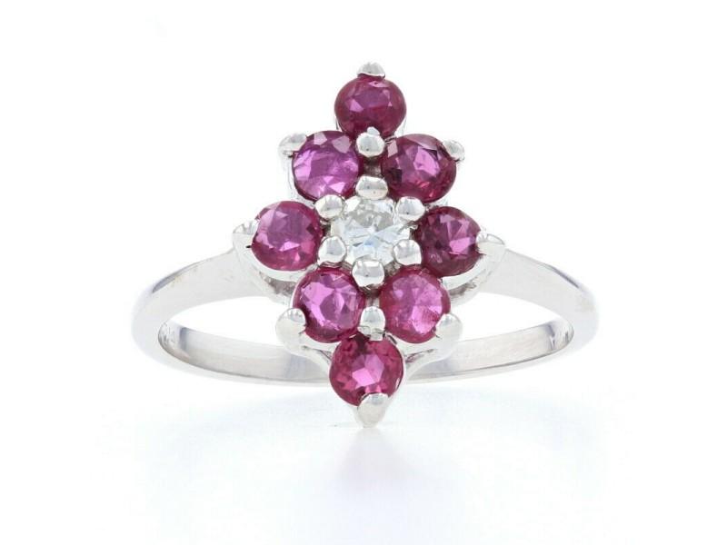 White Gold Ruby & Diamond Halo Ring - 14k Round Brilliant Cut .90ctw