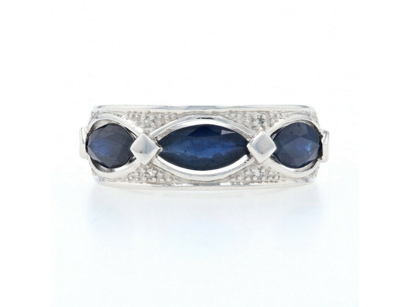 White Gold Sapphire & Diamond Three-Stone Band - 14k Marquise Cut 2.02ctw Ring
