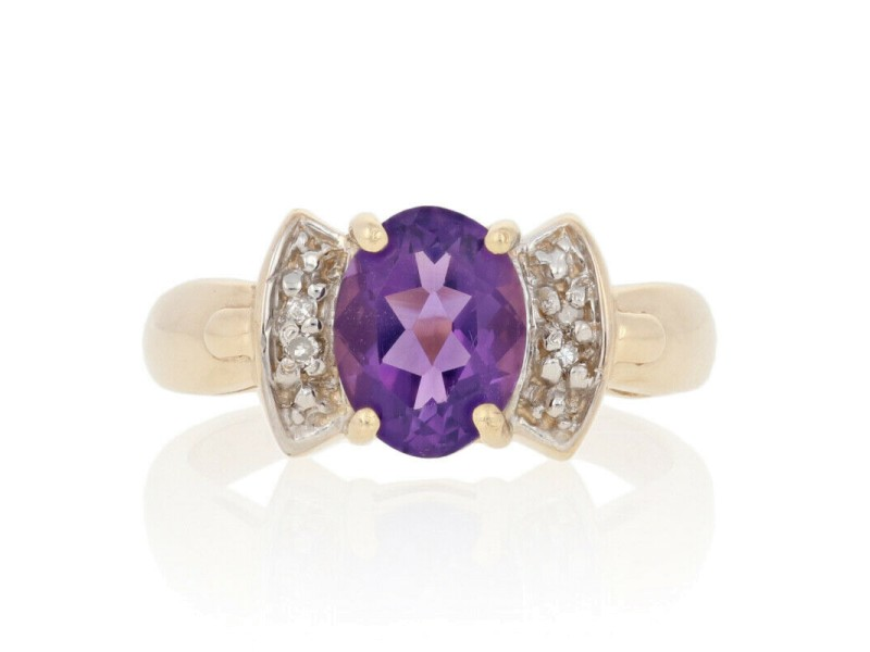 Yellow Gold Amethyst & Diamond Ring-10k Oval Cut 1.37ctw Solitaire with Accents