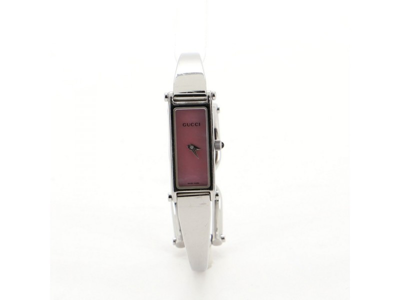 Gucci G-Frame Rectangular Bangle Quartz Watch Stainless Steel with Mother of Pearl 12