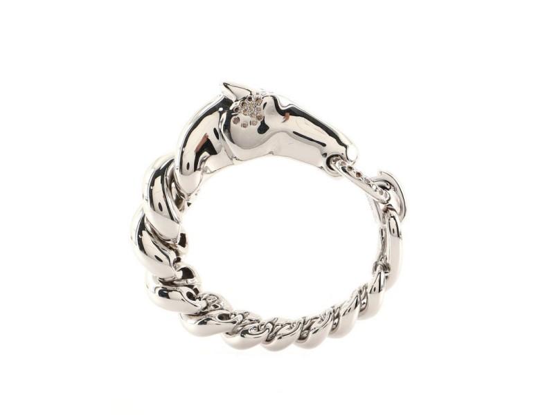 Hermes Galop Bracelet Sterling Silver and Diamonds Large
