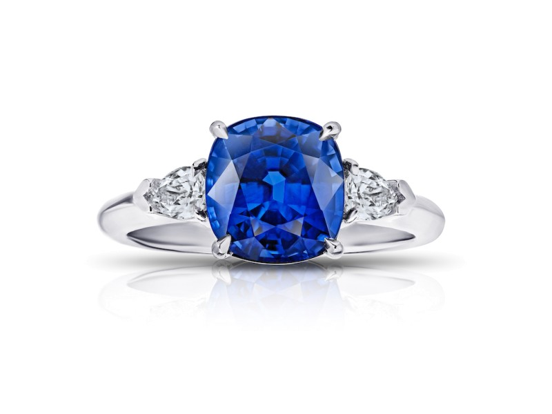 Platinum 4.13ct. Sapphire 0.38ctw. Diamond Ring Size 7