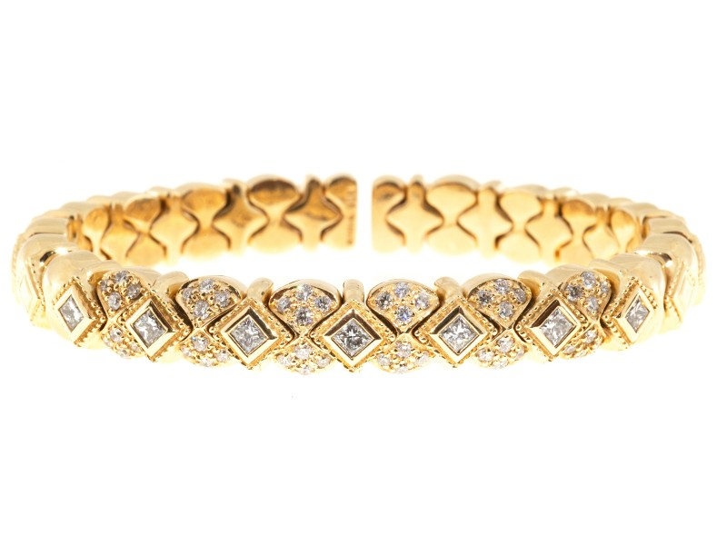 Sonia B 14K Yellow Gold & 1.54ct. Diamond Galerie De Bijoux Flex Bracelet