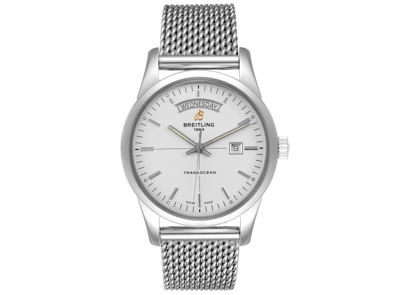 Breitling Transocean Silver Dial Mesh Bracelet Steel Mens Watch
