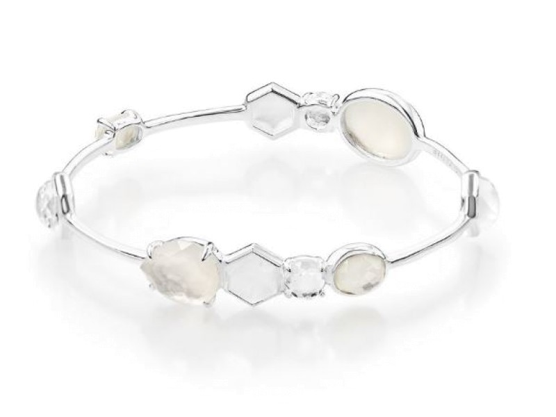 Ippolita Rock Candy Sterling SIlver Clear Quartz, Mother-of-Pearl and White Moonstone Bangle Bracelet