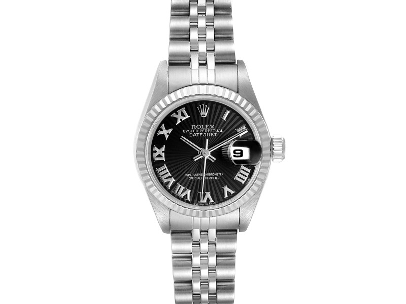 Rolex Datejust 26 Steel White Gold Black Sunbeam Dial Ladies Watch 79174