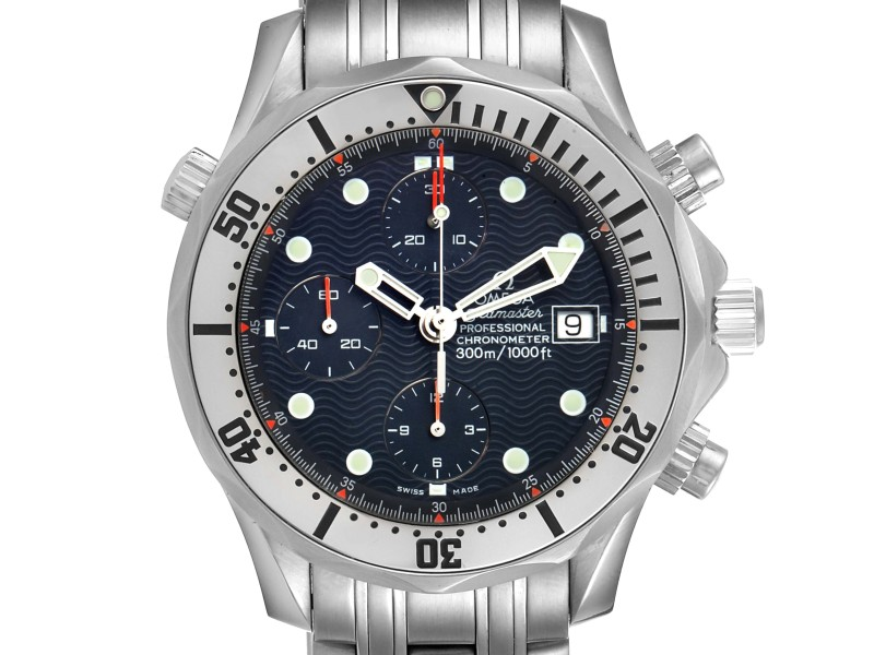 Omega Seamaster Chronograph Blue Dial Steel Mens Watch