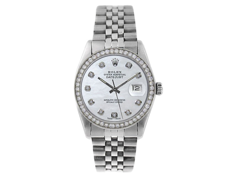 Rolex Datejust 16014 Stainless Steel MOP Diamond Dial Mens Watch