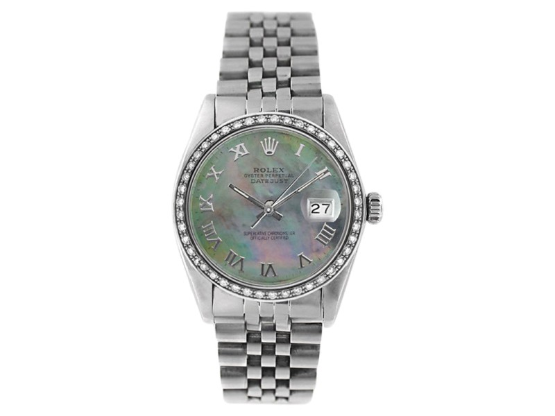 Rolex Datejust 16234 Stainless Steel Tahitian Mother Of Pearl Roman Dial & 1ct Diamond Bezel Mens Watch