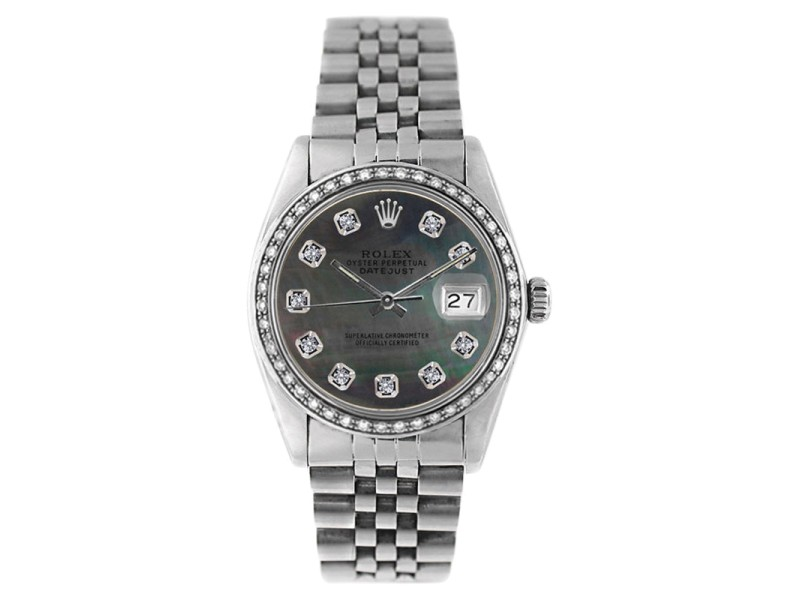 Rolex Datejust 16234 Stainless Steel Tahitian Mother Of Pearl 1ct Diamond Dial & Bezel Mens Watch