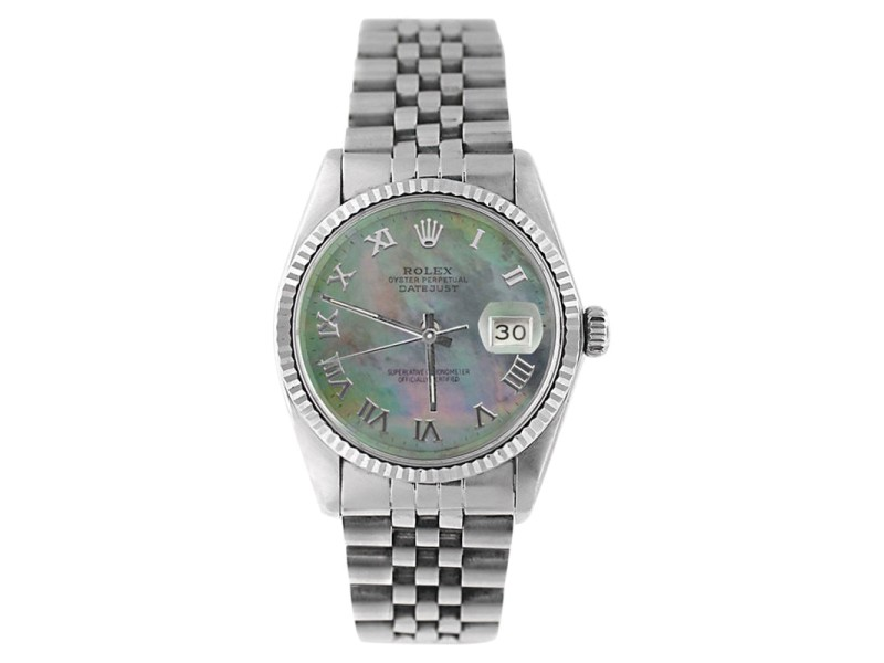 Rolex Datejust 16234 Stainless Steel Tahitian MOP Roman Dial 18K Gold Fluted Bezel Mens Watch