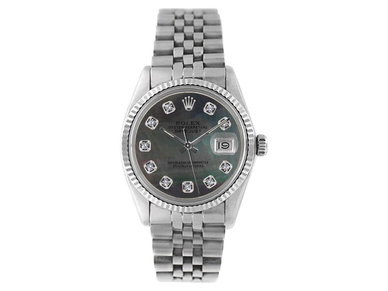 Rolex Datejust 16234 Stainless Steel Tahitian Mother Of Pearl Diamond Dial 18K Gold Fluted Bezel Mens Watch