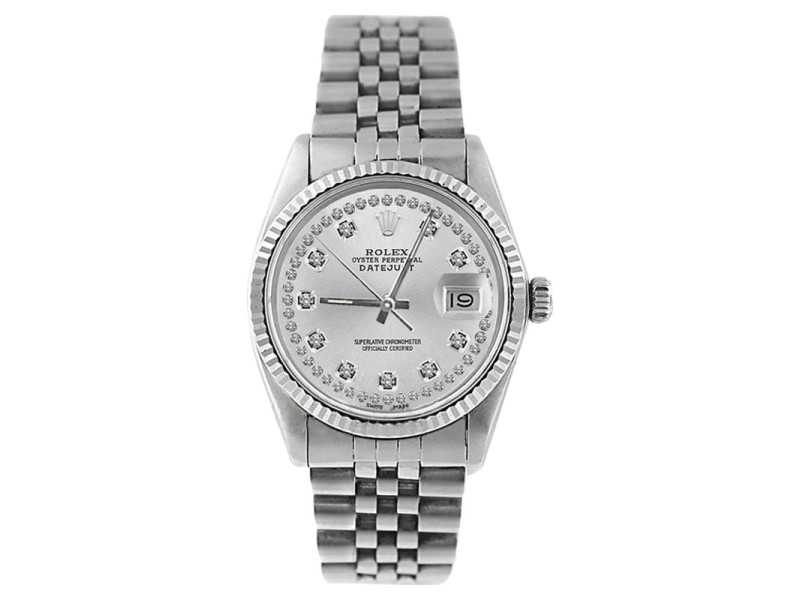 Rolex Datejust 16234 Stainless Steel Silver String Diamond Dial 18K Gold Fluted Bezel Mens Watch
