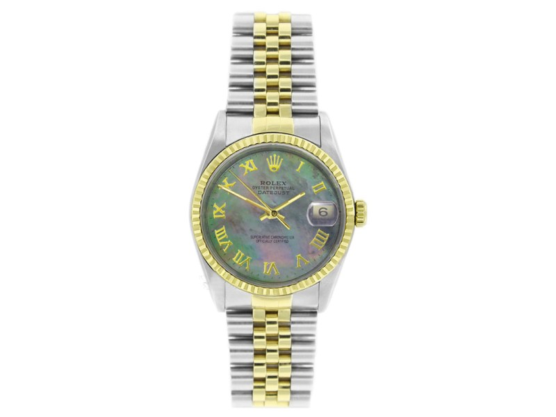 Rolex Datejust 16233 Stainless Steel & Gold Tahitian MOP Roman Dial Mens Watch