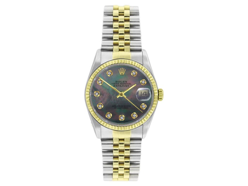Rolex Datejust 16233 Stainless Steel & Gold Tahitian MOP Diamond Dial 18K Gold Bezel Mens Watch