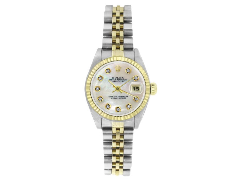 Rolex Datejust 69173 Stainless Steel & Gold MOP Diamond Dial Womens Watch