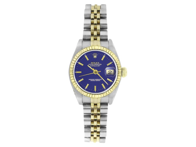 Rolex Datejust 69173 Stainless Steel & Gold Blue Stick Dial Womens Watch