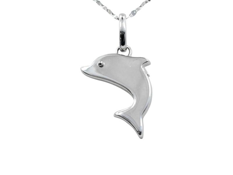18K White Gold Dolphin Pendant