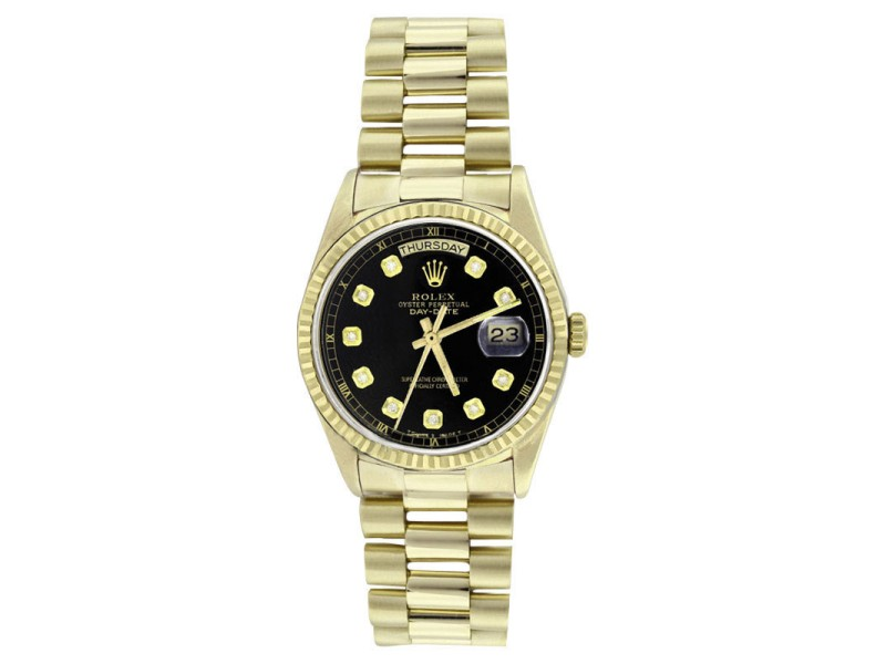 Rolex Solid 18K Gold President 18038 Black Diamond Dial Quickset Mens Watch