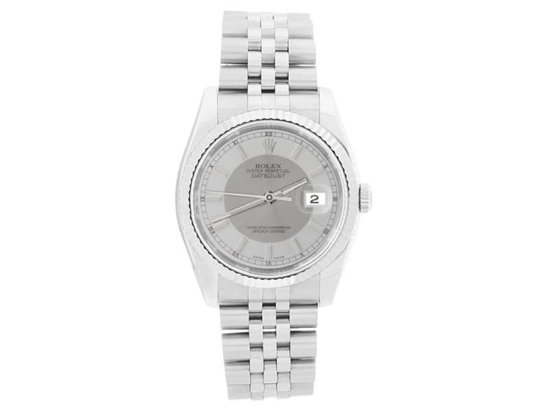 Rolex Datejust 116234 Stainless Steel 18K Gold Bezel Silver Tuxedo Dial Watch
