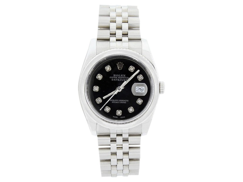 Rolex Datejust 116200 Stainless Steel Black Diamond Dial Smooth Bezel Mens Watch