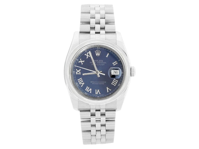 Rolex 116200 Jubilee Stainless Steel Datejust Blue Roman Dial Mens Watch
