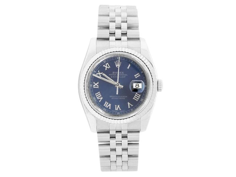 Rolex Datejust 116234 Stainless Steel Blue Roman Dial Mens Watch