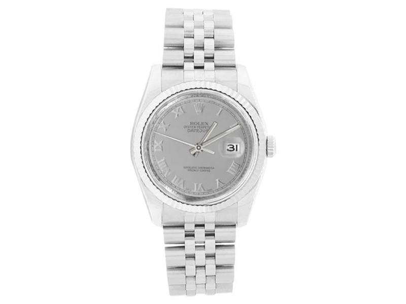 Rolex Datejust 116234 Stainless Steel Silver Roman Dial Mens Watch