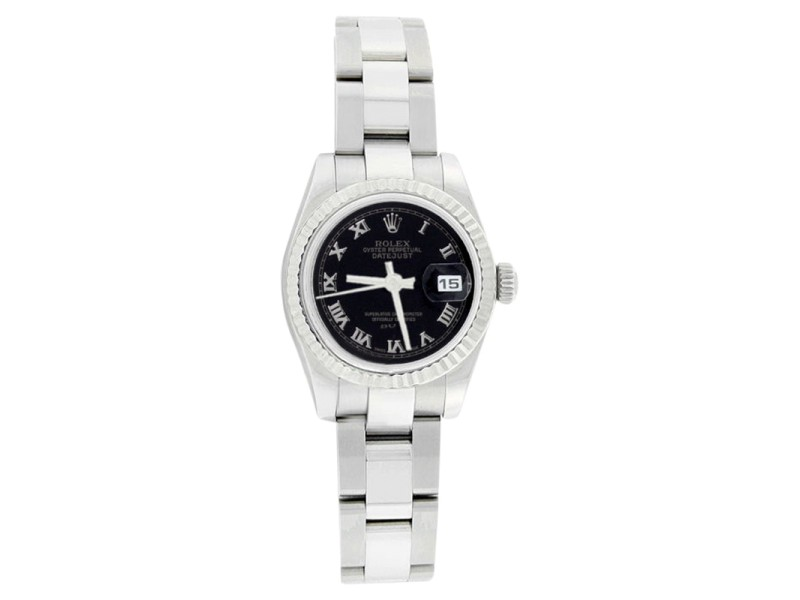 Rolex Datejust 179174 Oyster Stainless Steel Black Roman Dial Womens Watch