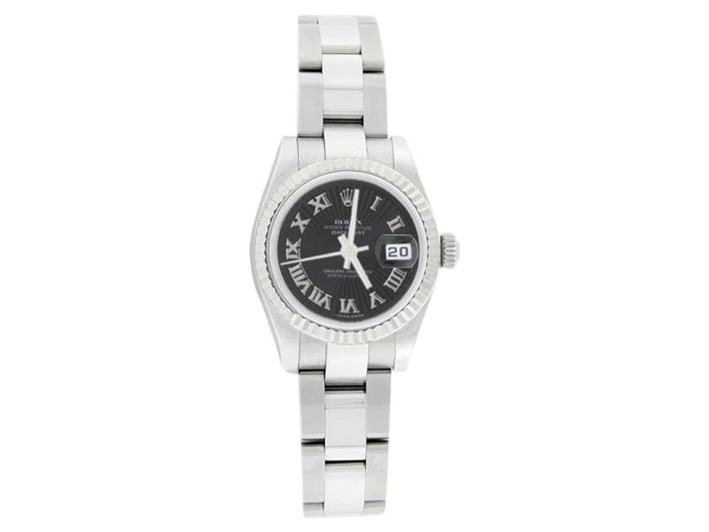 Rolex Datejust Oyster 179174 Stainless Steel Black Sunburst Roman Bezel Watch