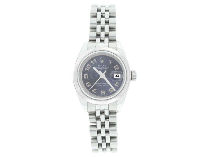 Rolex Datejust 179160 Stainless Steel Style Blue Con Arabic Dial Smooth Bezel Womens Watch