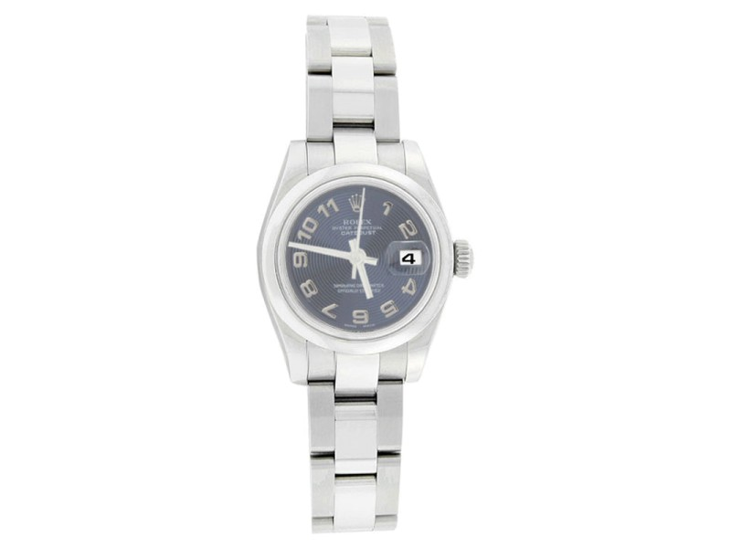 Rolex Datejust 179160 Oyster Stainlees Steel Blue Con Arabic Womens Watch