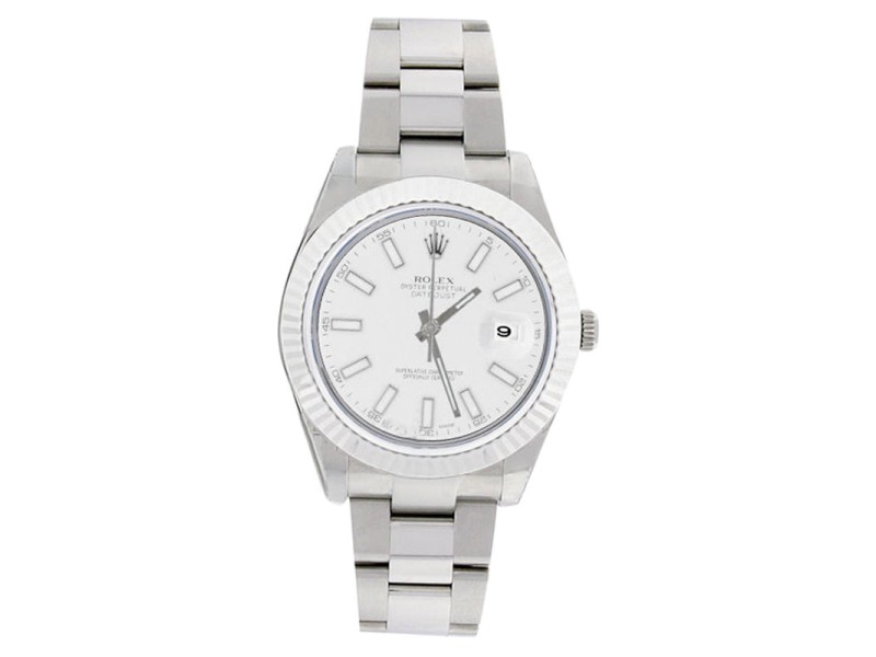 Rolex Datejust II 116334 Oyster Stainless Steel White Stick Dial Mens Watch