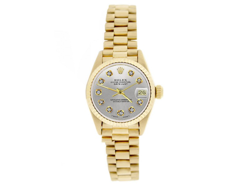 Rolex President 69178 18K Gold Fluted Bezel Blue Diamond Dial Womens Watch