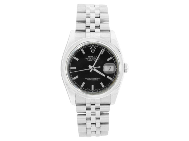 Rolex Datejust 116200 Jubilee Stainless Steel Style Black Stick Dial Bezel Mens Watch