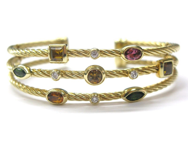 David Yurman Multi Tourmaline Diamond Bangle Cuff Bracelet