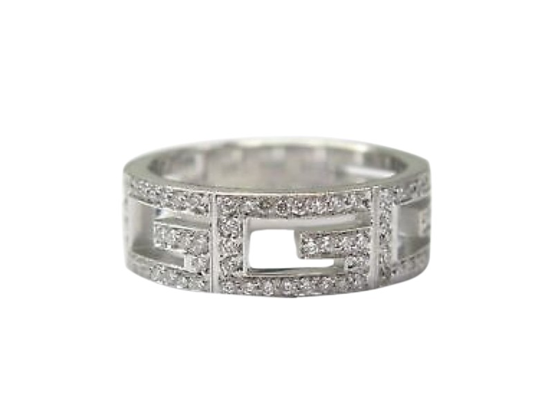 Gucci 18K White Gold Diamond 3G Band Ring