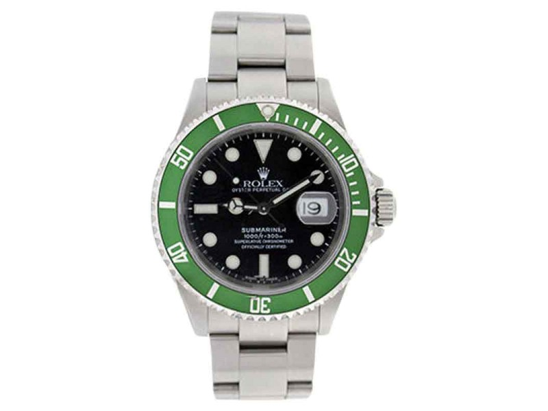 Rolex Submariner 16610 Stainless Steel Black Dial Green Anniversary Bezel Watch