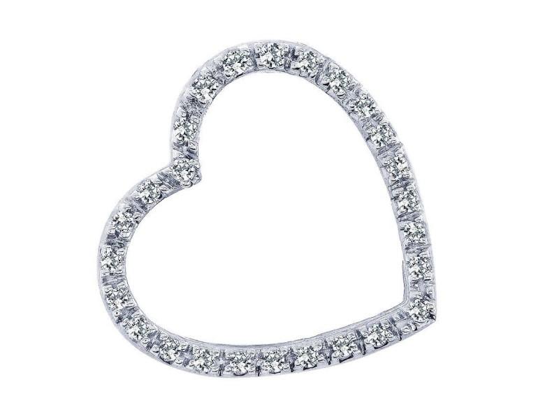 14K White Gold Heart Diamond Love Pendant